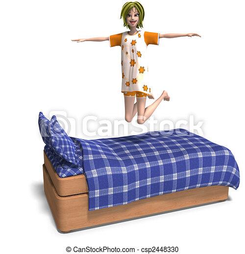 doce, jovem, convida, partido slumber, menina, caricatura - csp2448330