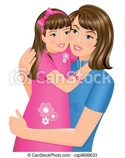 dochter, het koesteren, haar, moeder - csp9699633