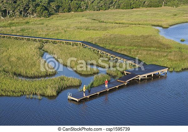 dock., 航空写真, 男の子 - csp1595739