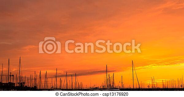 dock at sunset - csp13176920
