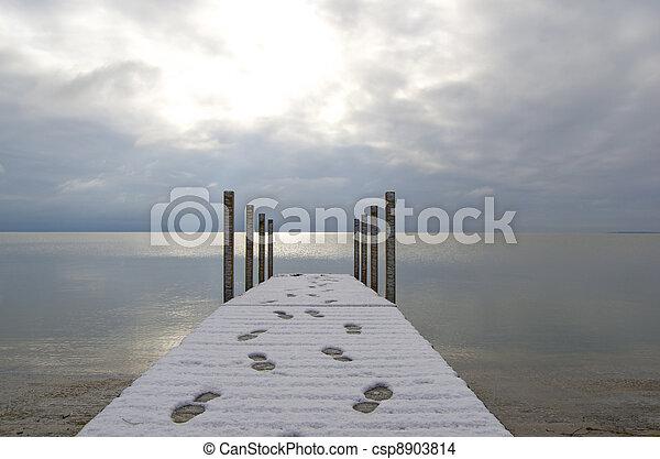 Dock, Footprints, Breaking Sun - csp8903814