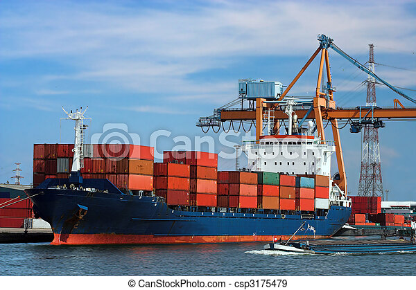 Docked container ship - csp3175479