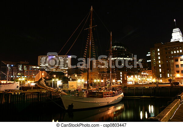 Docked Vessel in the Dark - csp0803447