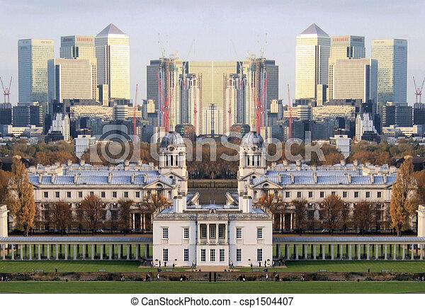 El reflejo de los muelles de Londres - csp1504407