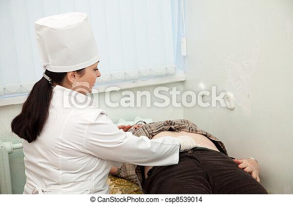 docteur, estomac, patient, toucher - csp8539014