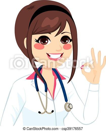 docteur féminin, signe, ok - csp39176557