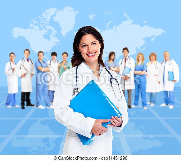 docteur femme, monde médical, team., santé, care. - csp11451296