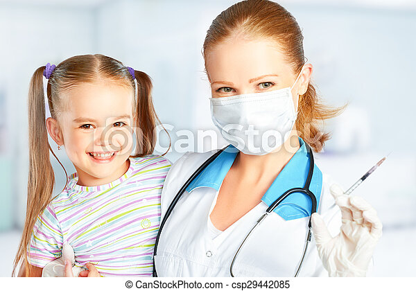 Doctor a pediatrician makes child vaccinated - csp29442085