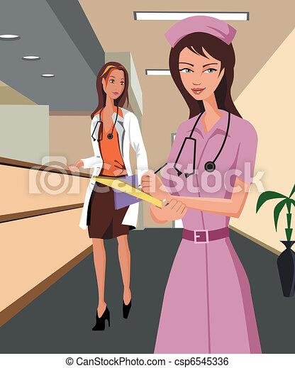 Doctor and a nurse walking along a hospital corridor - csp6545336