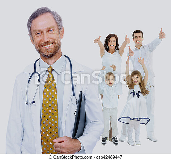 doctor and happy family - csp42489447