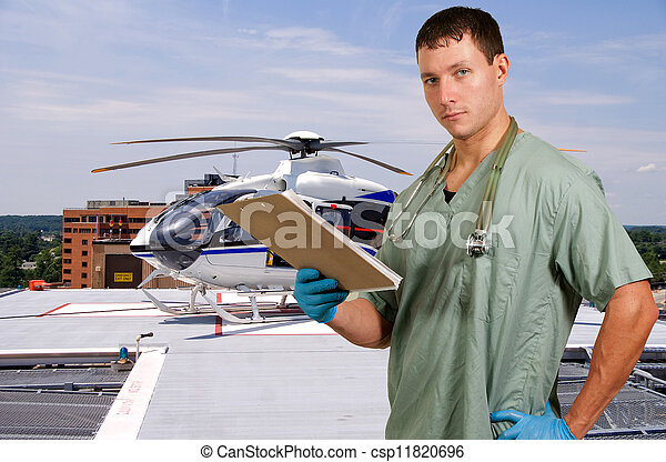 Doctor and Life Flight Helecopter - csp11820696