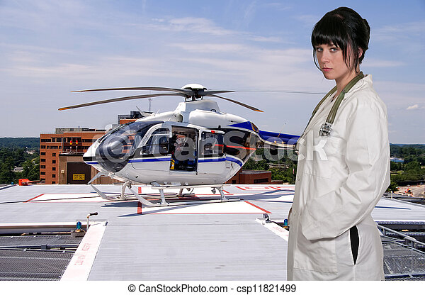Doctor and Life Flight Helecopter - csp11821499