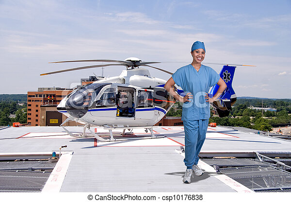 Doctor and Life Flight Helecopter - csp10176838