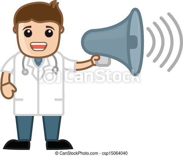 Doctor Announcing Cartoon Character - csp15064040