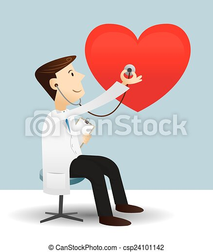 doctor check heart vector illustration of doctor check eps rh canstockphoto com Doctor Icon Heart Cute Heart Doctor