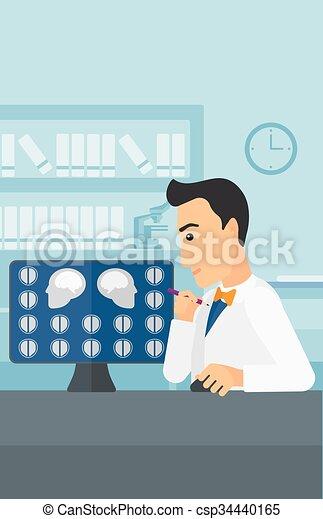 Doctor checking MRI results. - csp34440165