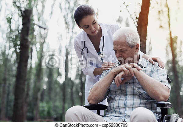 Image of: Masterfile Doctor Comforts The Sad Old Man Csp52330703 Can Stock Photo Doctor Comforts The Sad Old Man Doctor Comforts Brooding Sad Old