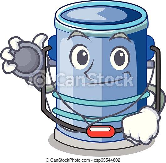 Doctor cylinder bucket Cartoon of for liquid - csp63544602