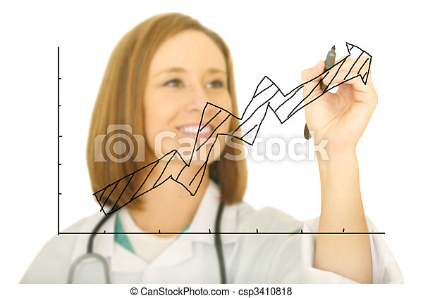 Doctor Drawing Upward Chart - csp3410818
