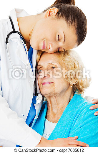 Doctor Embracing Senior Woman Over White Background - csp17685612