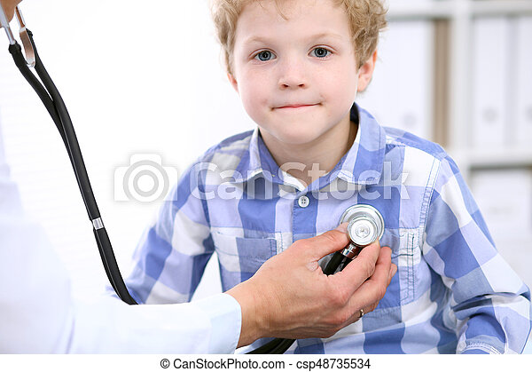 Doctor examining a child  patient by stethoscope - csp48735534