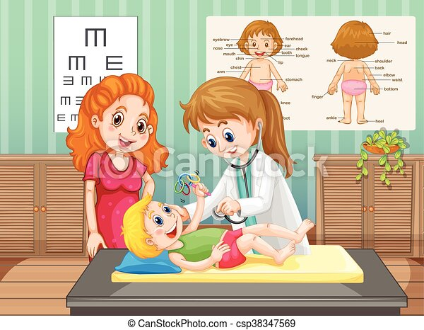 Doctor examining little boy in clinic - csp38347569
