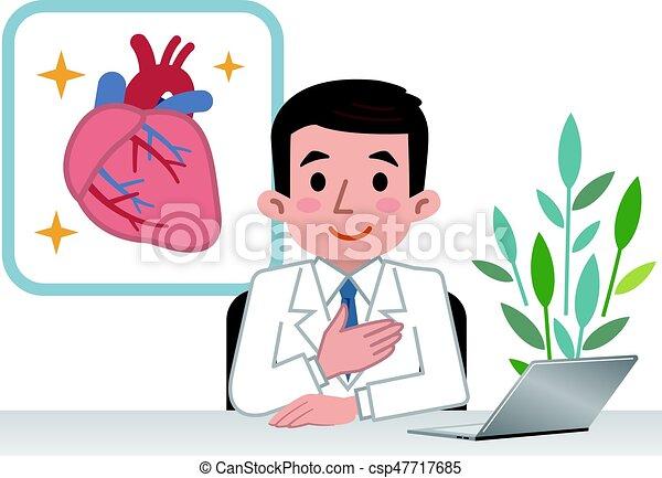 Doctor explaining the heart - csp47717685