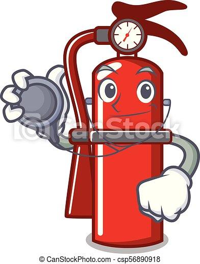Doctor fire extinguisher character cartoon - csp56890918