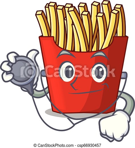 Doctor french fries above cartoon table wood - csp66930457