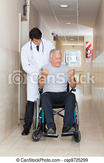Doctor Giving Muscle Training To The Senior Man - csp9725299