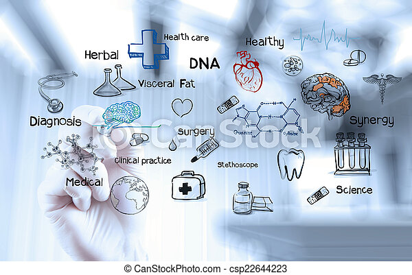 doctor hand working with modern computer interface as medical co - csp22644223