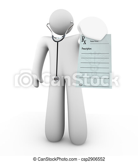 Doctor Holding Prescription - Blank Form - csp2906552