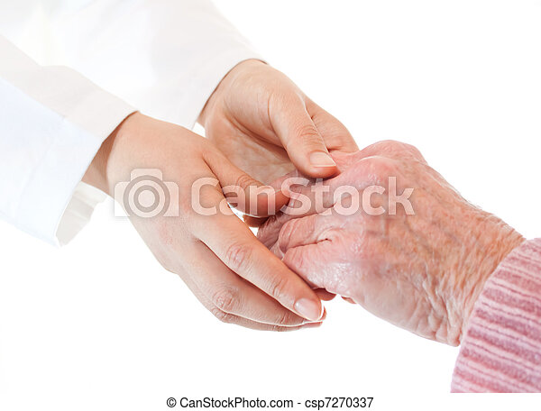 Doctor holding senior lady's hands - csp7270337