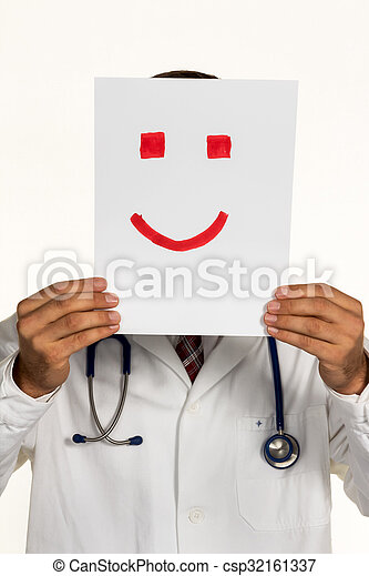 doctor holding smiley face before - csp32161337