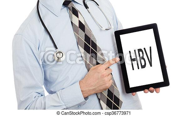 Doctor holding tablet - HBV - csp36773971