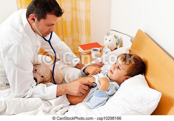 doctor house call. examines sick child. - csp10298166
