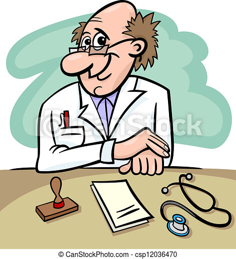 doctor in clinic cartoon illustration - csp12036470