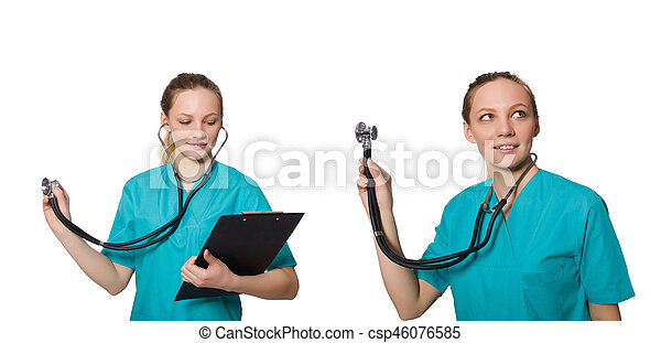 Doctor isolated on the white background - csp46076585