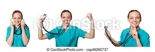 Doctor isolated on the white background - csp46260737