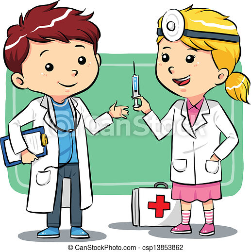 doctor kids kids playing to be a doctors vector eps8 file clip art rh canstockphoto com doctor clipart free doctor clipart images