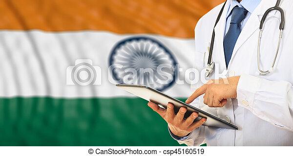 Doctor On India Flag Background 3d Illustration