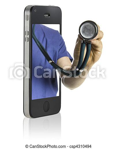 Doctor on Smart Phone - csp4310494
