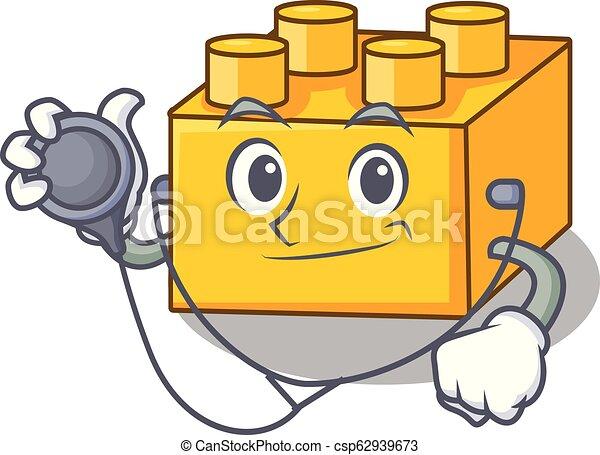 Doctor plastic building blocks cartoon on toy - csp62939673