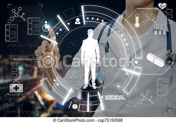 Doctor pushing medical interface - csp75150568