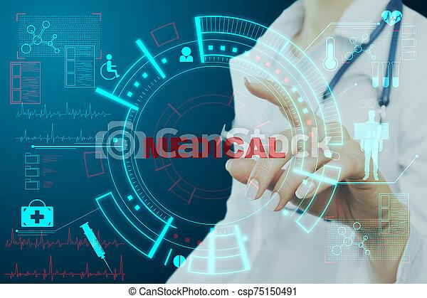 Doctor pushing medical interface - csp75150491