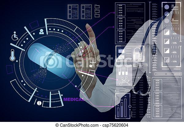 Doctor pushing medical interface - csp75620604
