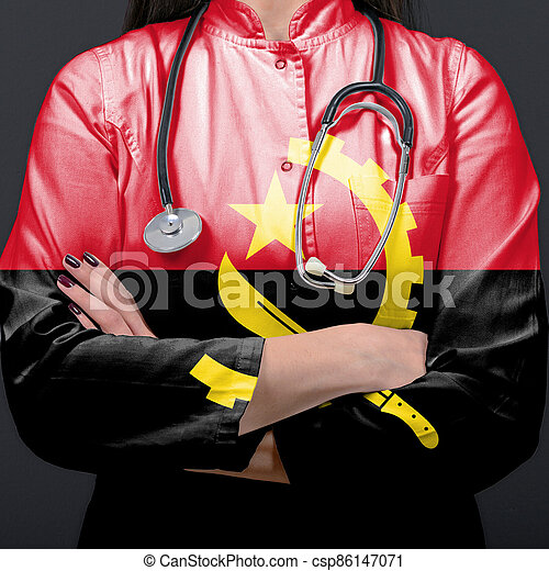 Doctor representing healthcare system with National flag of Angola - csp86147071