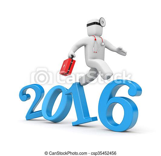 Doctor run to new year - csp35452456
