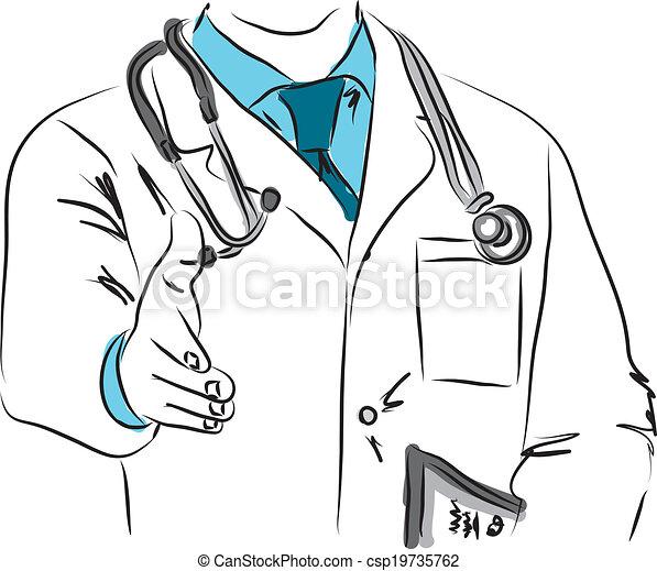 Doctor estrechando manos de ilustración - csp19735762