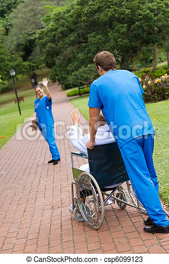 doctor saying goodbye to patient - csp6099123